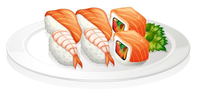 Uma placa completamente do sushi ilustração stock