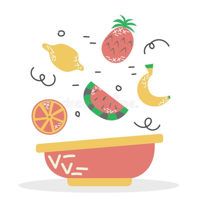 Uma placa da bacia do batido de fruta Dieta apropriada Alimento da vitamina ilustração do vetor