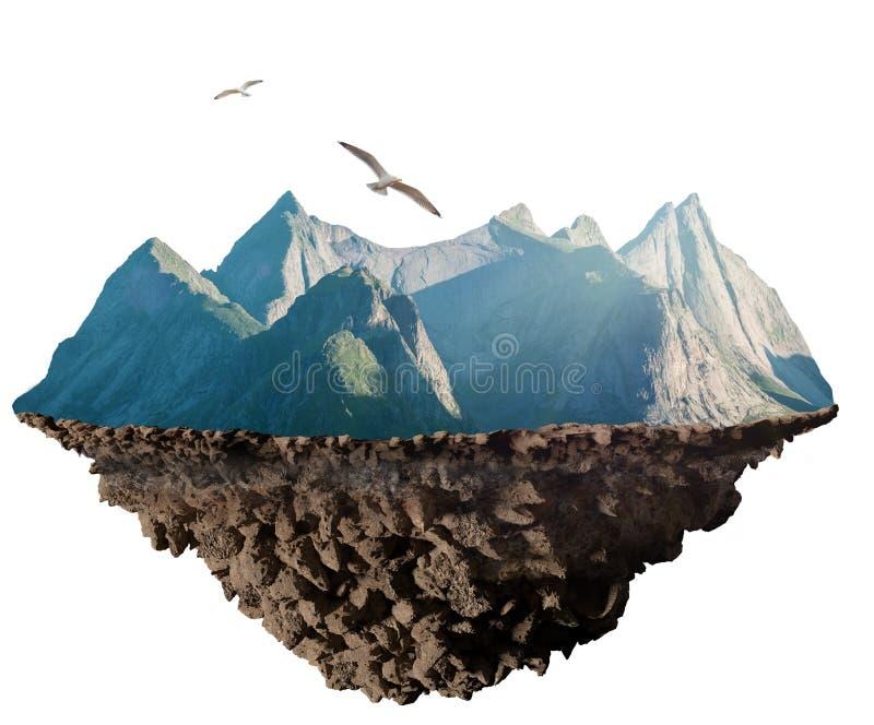 Uma placa da montanha, ilustração do conceito 3D da geologia ilustração do vetor