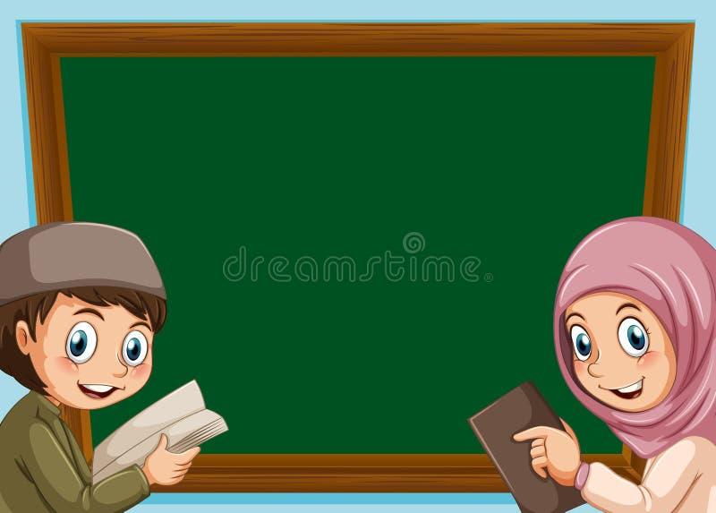 Uma placa muçulmana do menino e da menina ilustração royalty free