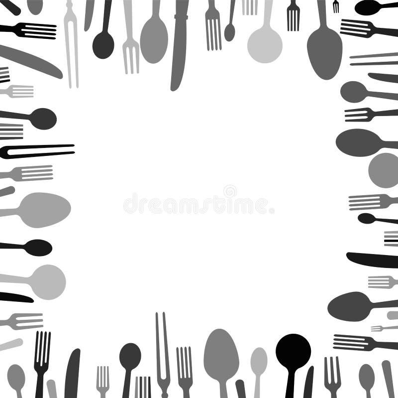 Uma placa para imprimir menus e guardanapo para uma barra ou um restaurante Quadro preto e branco das forquilhas, das colheres e  ilustração do vetor