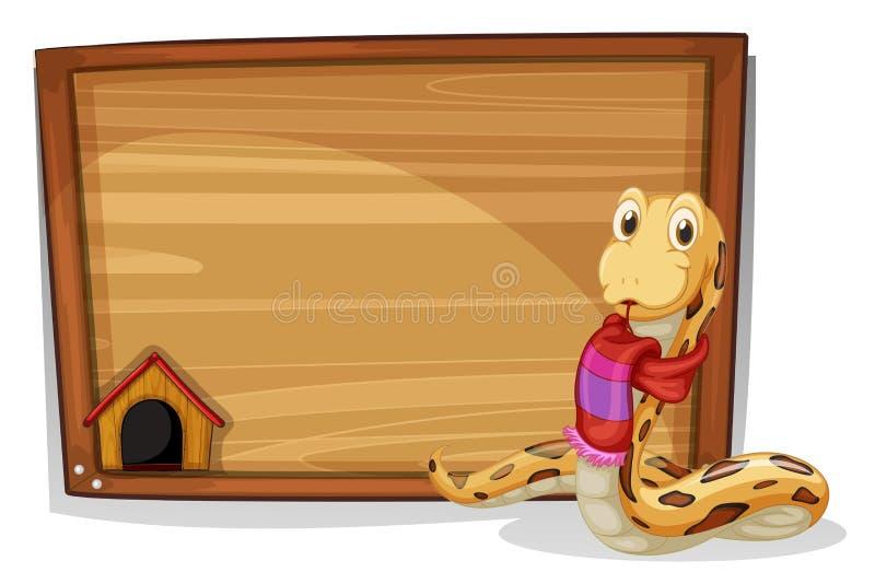 Uma placa vazia de madeira com uma serpente ilustração stock