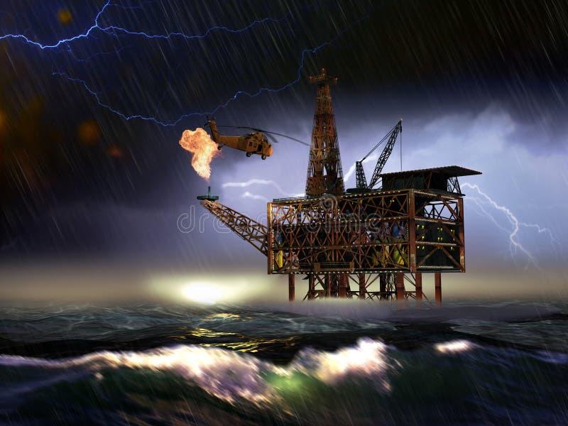Uma plataforma a pouca distância do mar da plataforma petrolífera ilustração stock