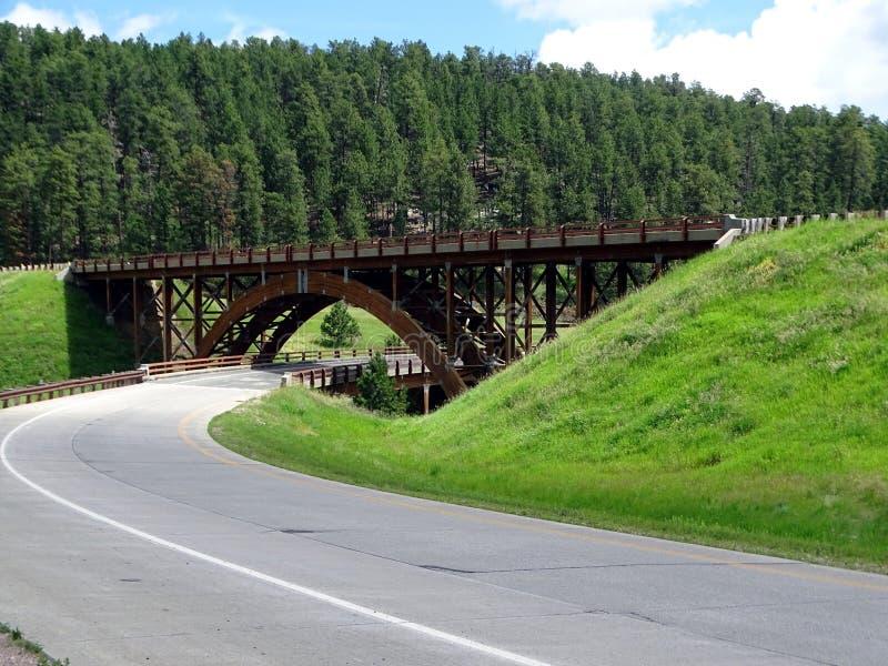 Uma ponte da estrada da madeira sob a forma de uma arcada imagem de stock royalty free