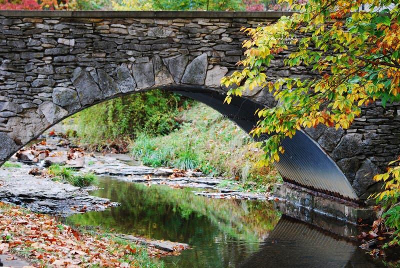 Uma ponte de pedra com uma angra que corre abaixo com reflexões bonitas na queda em Indiana University foto de stock