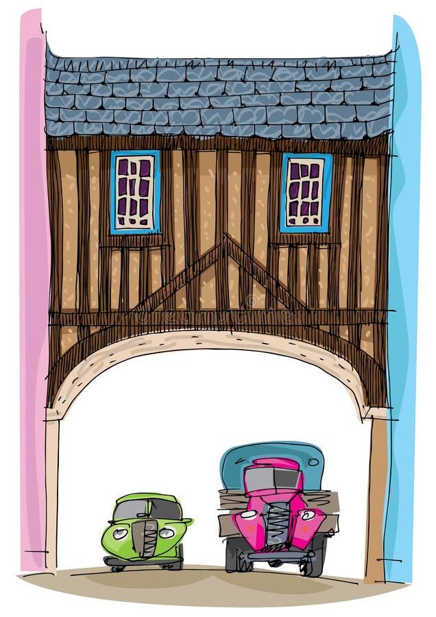 Uma ponte metade-suportada como o vintage ilustração royalty free
