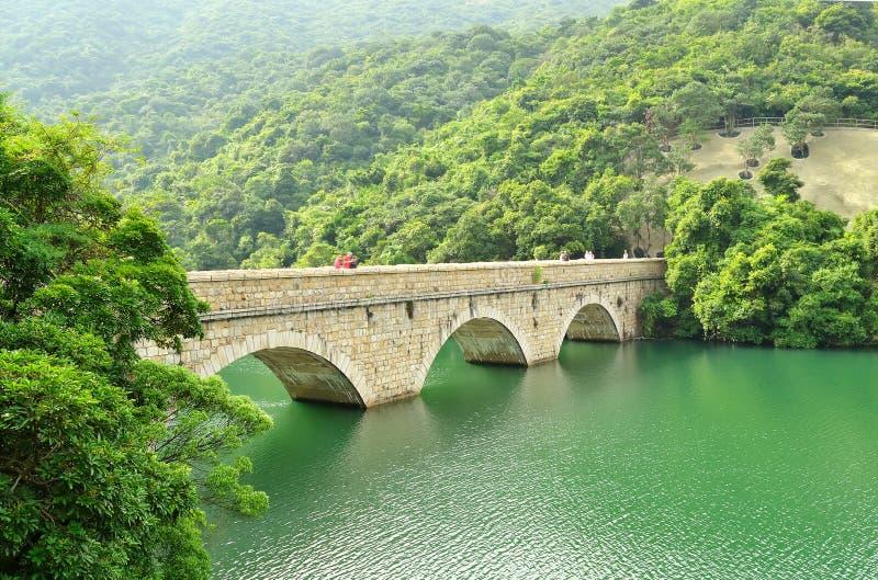 Uma ponte no reservatório do tam da TAI, Hong Kong foto de stock royalty free