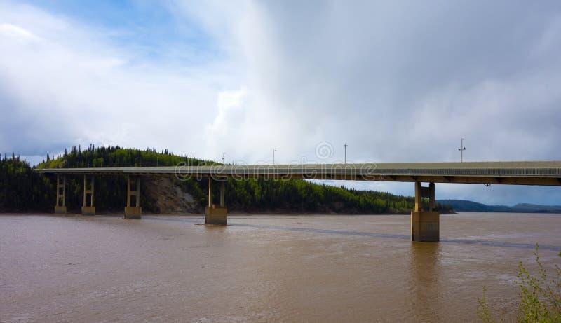 Uma ponte que mede o Rio Yukon poderoso em Alaska imagem de stock royalty free