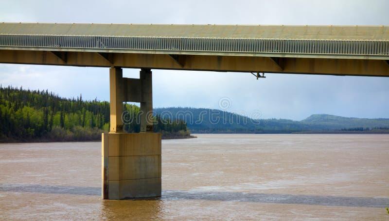 Uma ponte que mede o Rio Yukon poderoso em Alaska foto de stock royalty free
