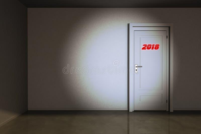 Uma porta ao ano 2018 ilustração stock