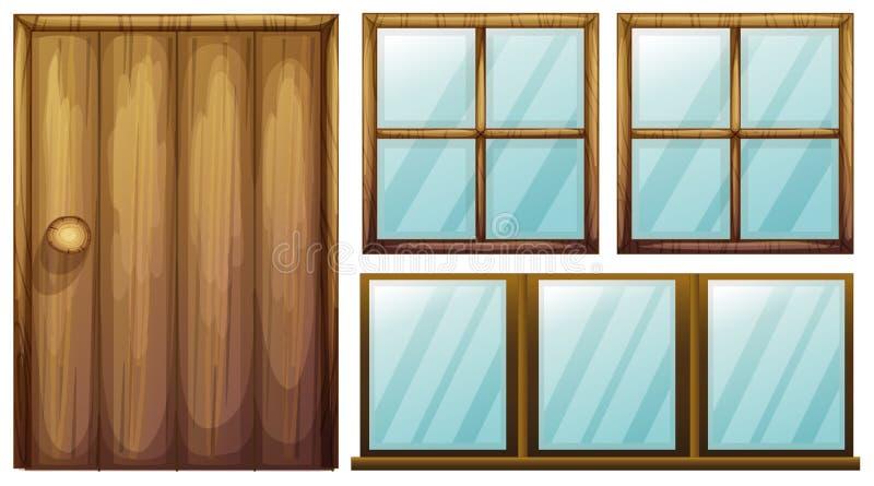Uma porta e janelas ilustração do vetor