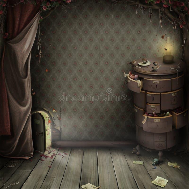Uma porta pequena no jardim surpreendente ilustração royalty free