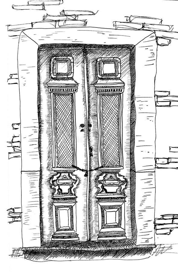 Uma porta velha no mundo imaginário imagem de stock royalty free