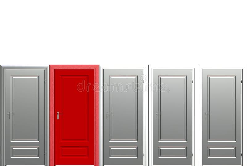 Uma porta vermelha ilustração stock