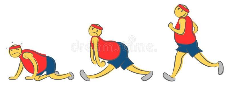Uma pose de corrida do homem na vária emoção O corredor cansado do indivíduo que toma um caráter do atleta do resto caiu à terra  ilustração stock