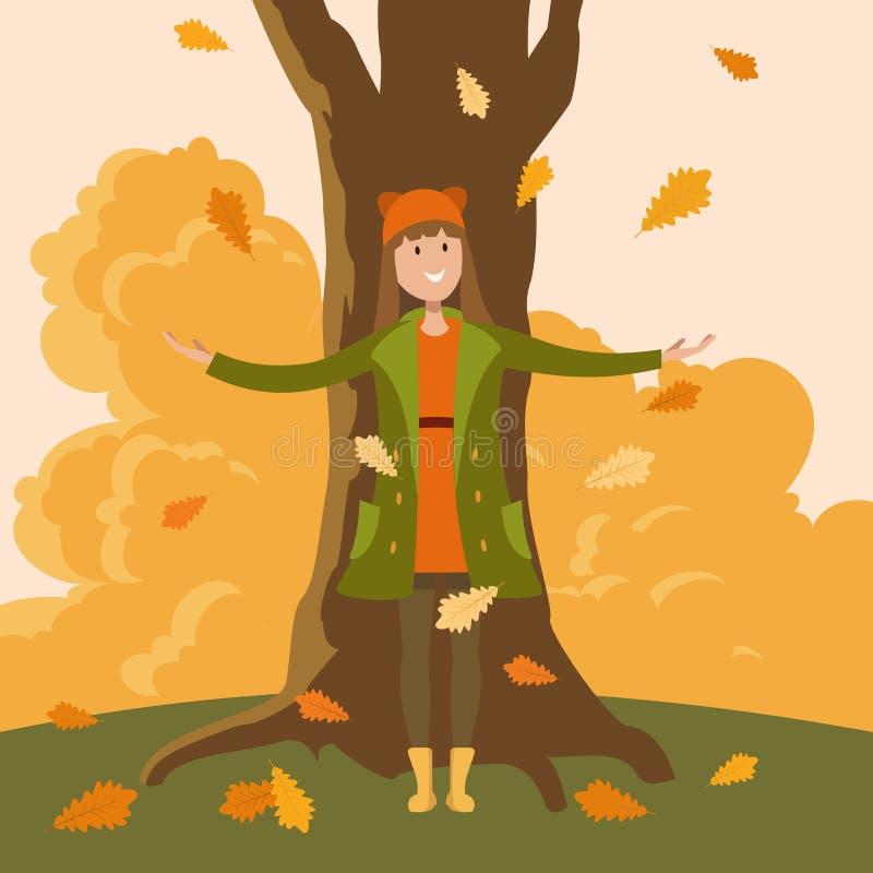Uma posição da menina sob uma árvore ilustração stock