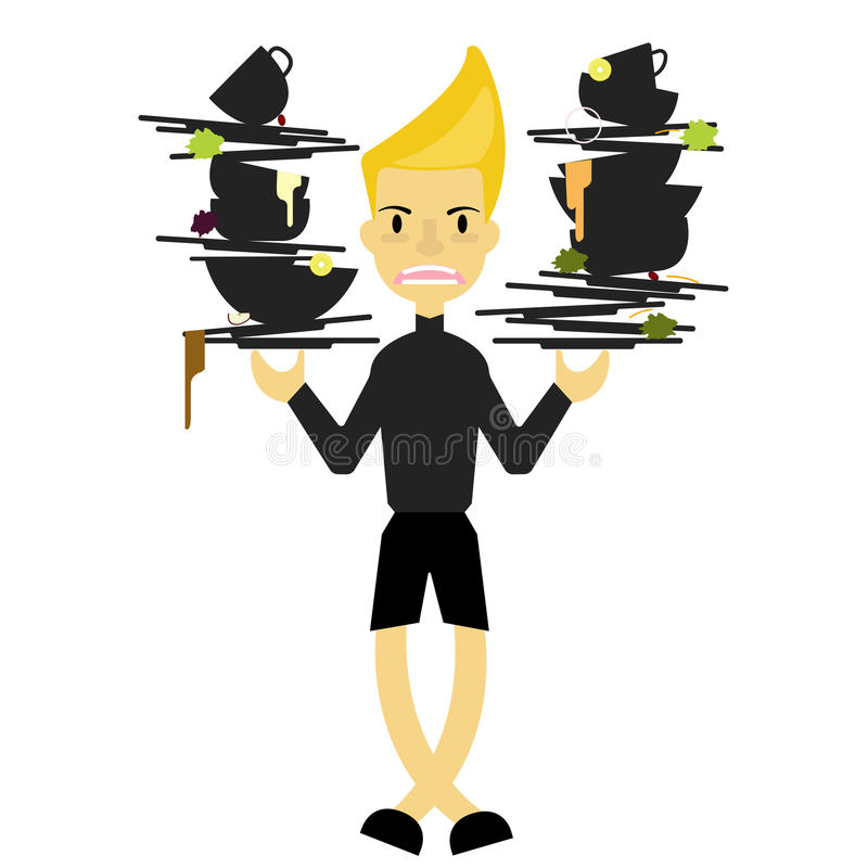 Uma posse do menino muita prato sujo para limpa atrás do restaurante da cozinha ilustração royalty free