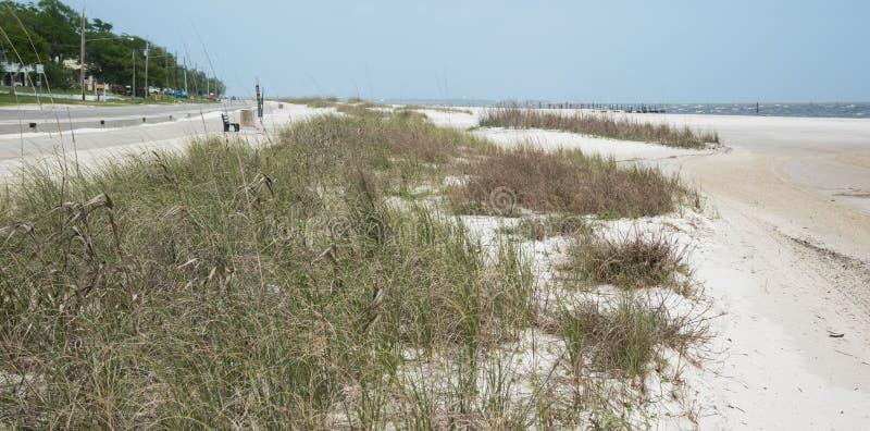 Uma praia abandonada em Waveland, Mississippi fotos de stock