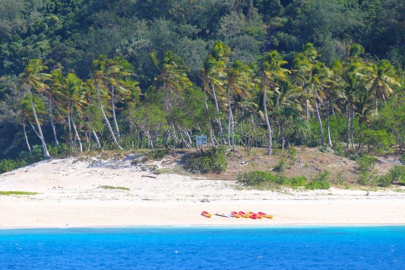 Uma praia de uma ilha tropical, Fiji fotos de stock