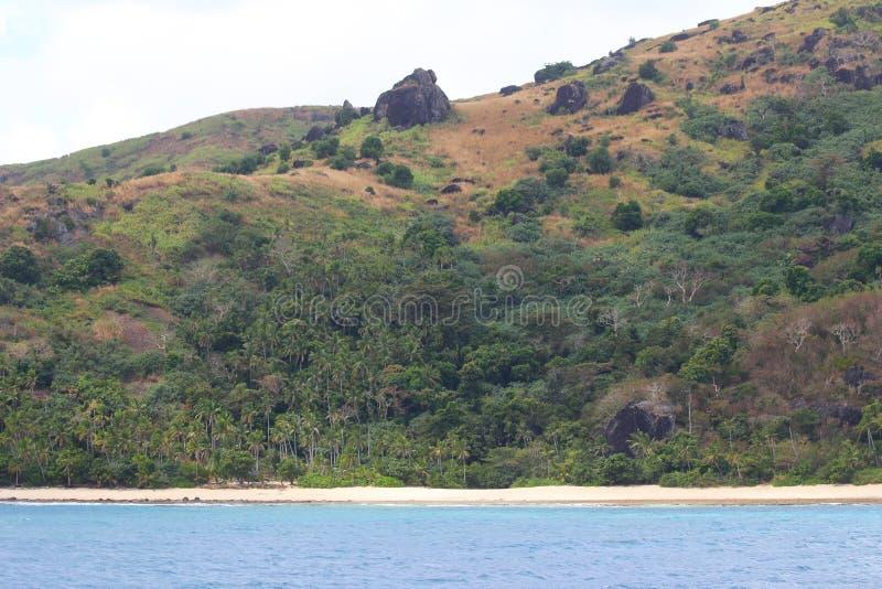 Uma praia na ilha de Wayasewa, ilhas de Yasawa, Fiji imagem de stock royalty free