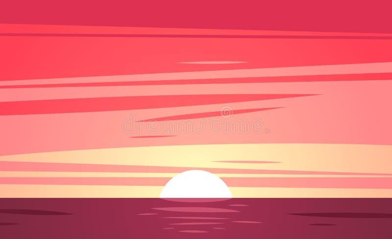 Uma praia tropical do por do sol Ilustração do vetor ilustração stock