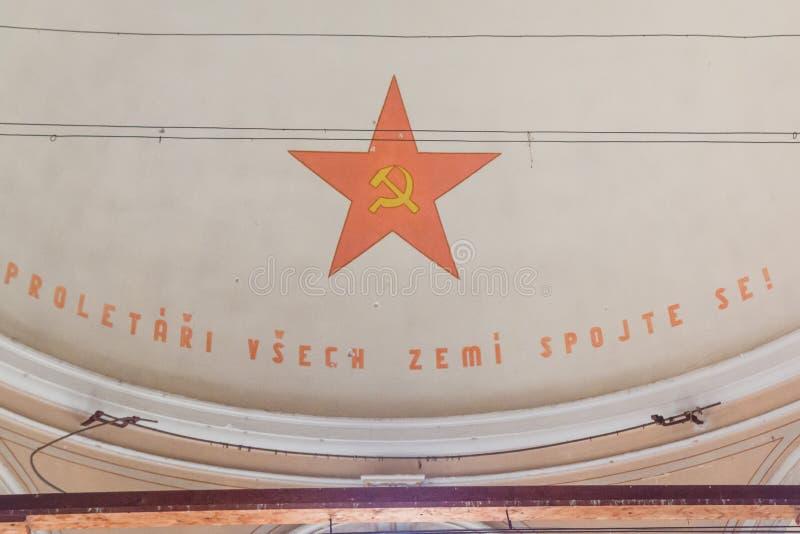 Uma prisão comunista que comemora atrocidades e práticas comunistas da tortura e que reforça a confissão imagem de stock