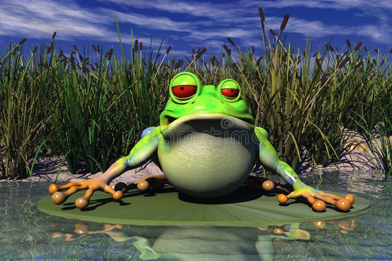 Uma râ que senta-se na lagoa ilustração do vetor