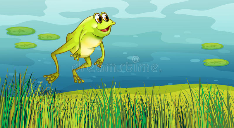 Uma rã que salta na grama ilustração royalty free