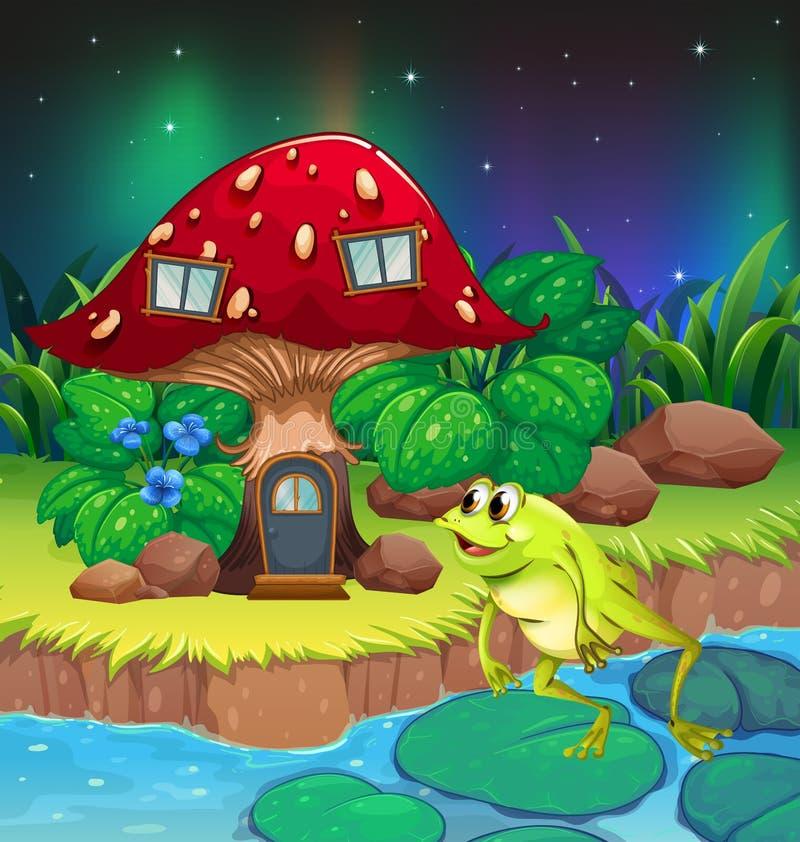 Uma rã que salta perto da casa vermelha do cogumelo ilustração royalty free