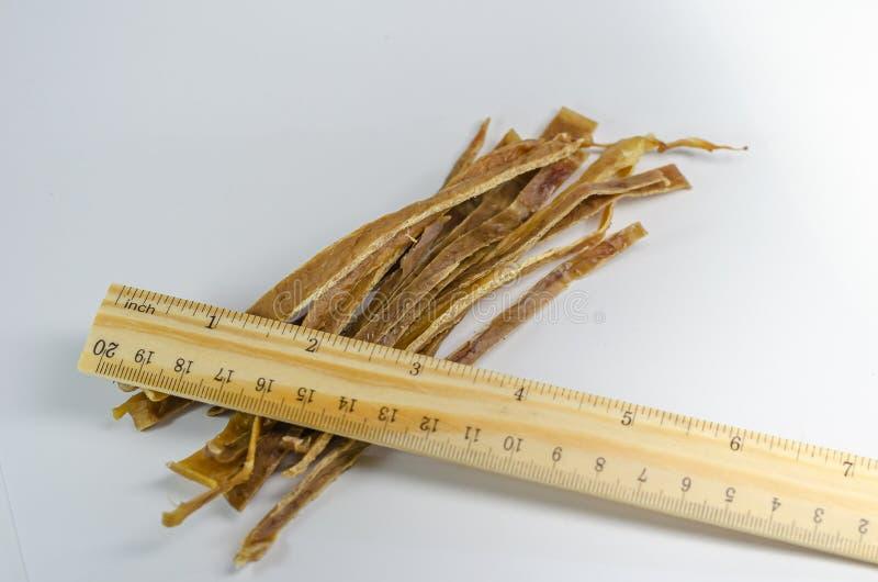 Uma régua de madeira encontra-se em uma vara da teta da vaca secada Presentes naturais para cães Varas macias para treinar fotografia de stock royalty free