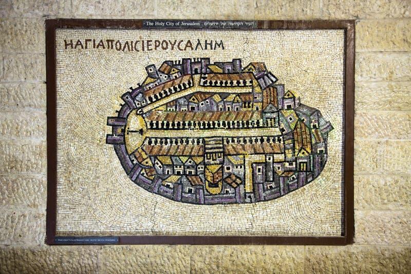 Cidade velha do mosaico de Jerusalem fotos de stock
