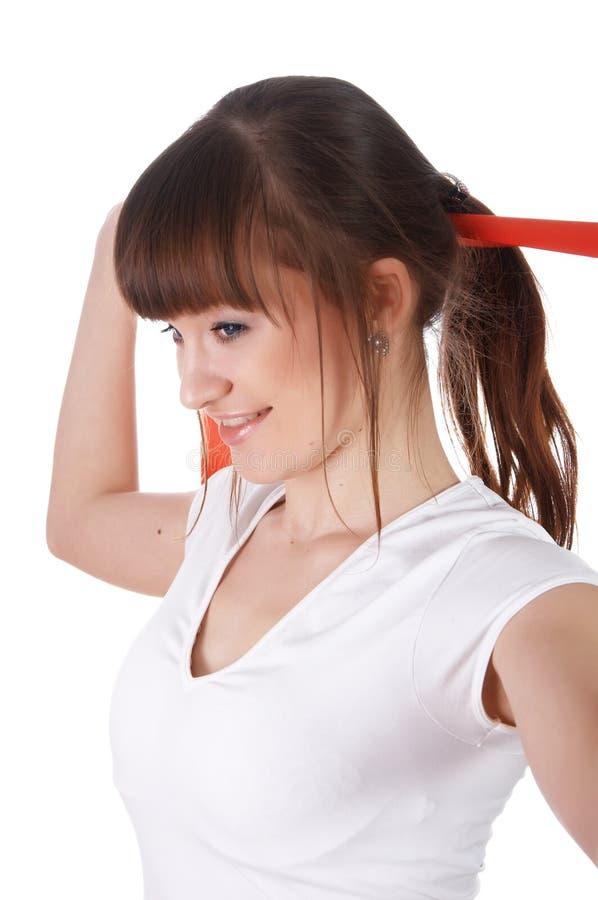 Download Uma Rapariga Encantador Em Um T-shirt Branco Imagem de Stock - Imagem de aerobics, beleza: 12813825