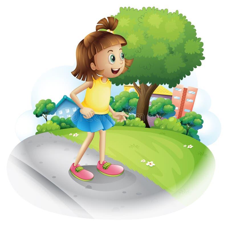 Uma rapariga na rua ilustração royalty free