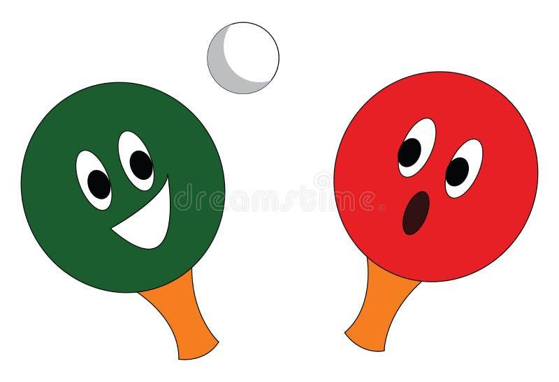 Uma raquete de tênis de mesa vermelha e verde e uma ilustração do vetor de bola de ping pong branca ilustração royalty free