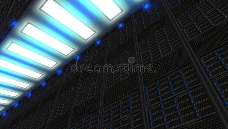 Uma rede com suporte na internet moderna e das telecomunicações do Internet tecnologia ilustração do vetor