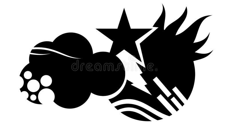 Uma representação abstrata do conceito de controle do clima em preto e branco ilustração stock