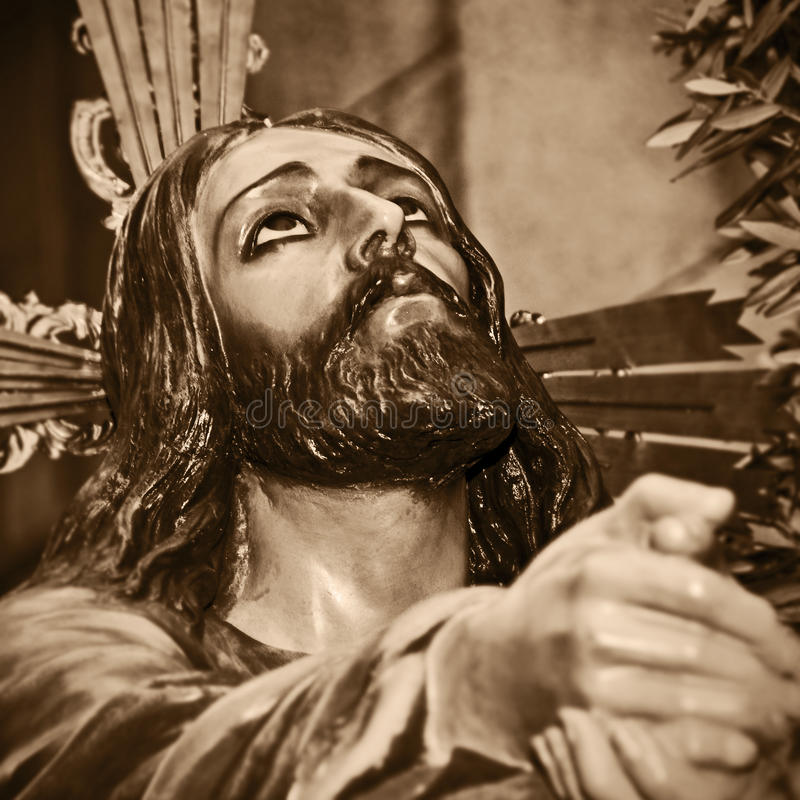 Jesus Cristo que praying no jardim de Gethsemane imagem de stock royalty free