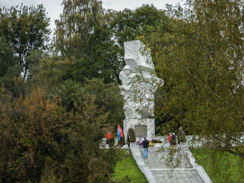 Uma reunião comemorativa como parte da reconstrução da batalha da guerra mundial 2 perto de Moscou imagem de stock royalty free