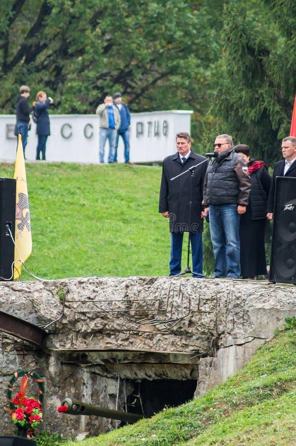 Uma reunião comemorativa como parte da reconstrução da batalha da guerra mundial 2 perto de Moscou fotos de stock