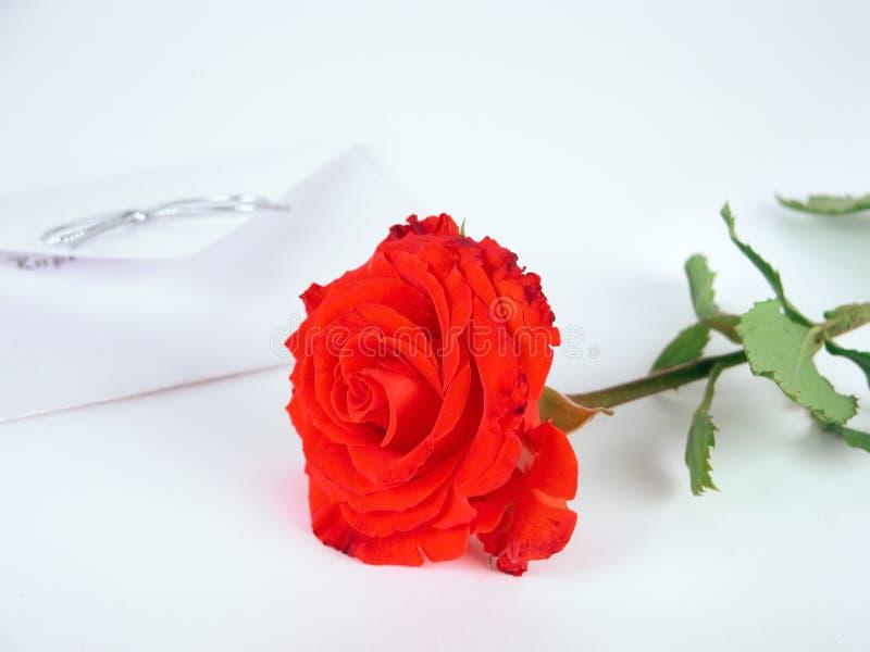 Uma rosa vermelha e uma letra de amor imagem de stock