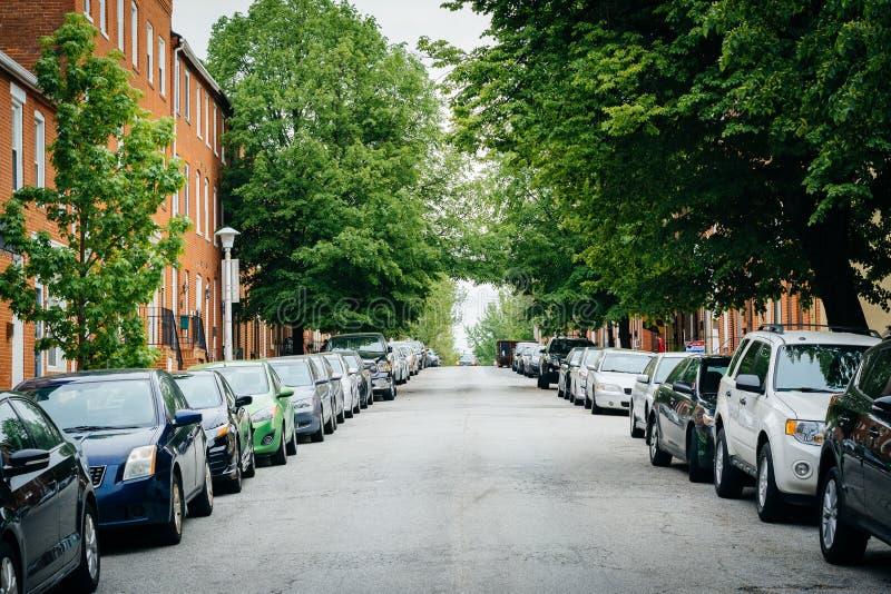 Uma rua árvore-alinhada no monte federal, Baltimore, Maryland imagens de stock
