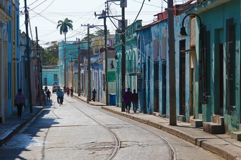 Uma rua de Camaguey, local do patrimônio mundial do Unesco imagens de stock royalty free