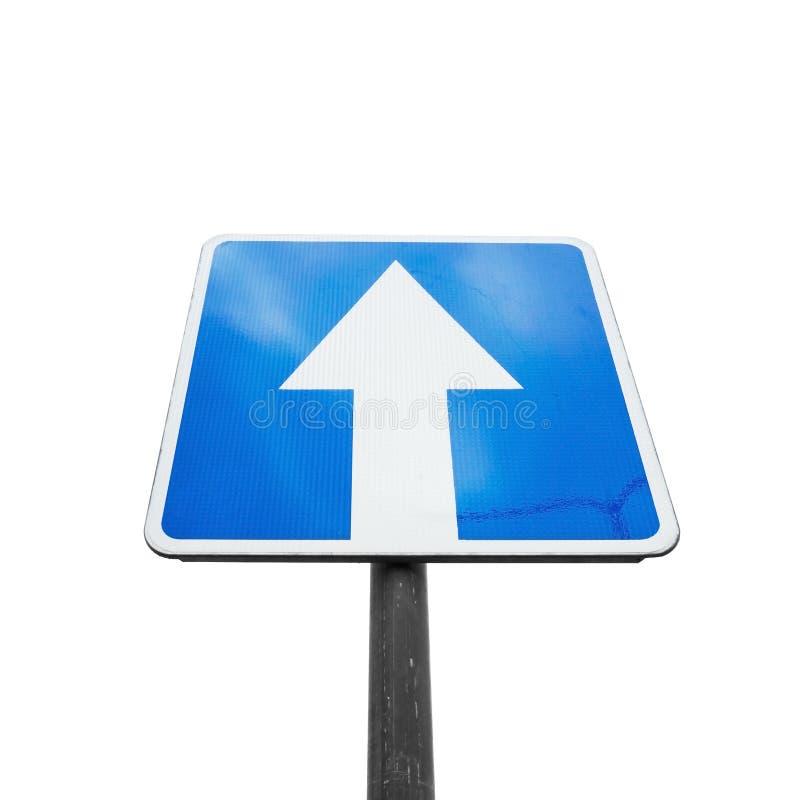 Uma rua de maneira, sinal de estrada azul quadrado isolado foto de stock royalty free