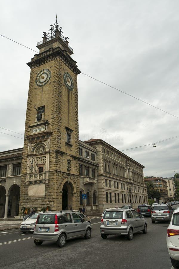 Uma rua em Bergamo, Itália foto de stock royalty free