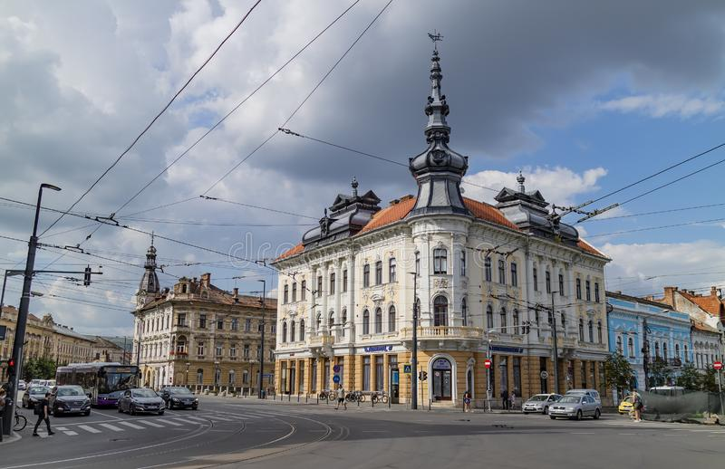 Uma rua em Cluj Napoca, Romênia fotos de stock royalty free