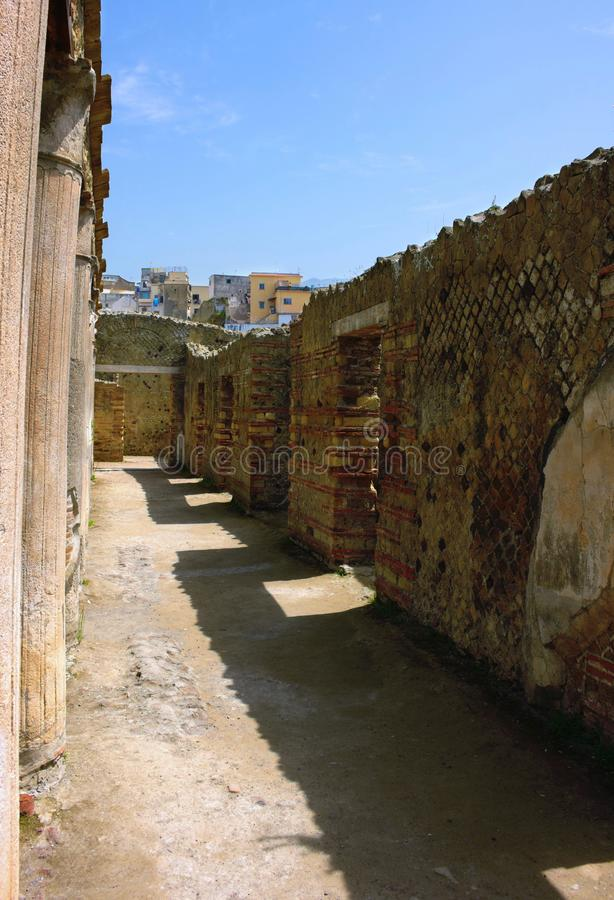 Uma rua em Herculaneum - Itália antigos imagem de stock