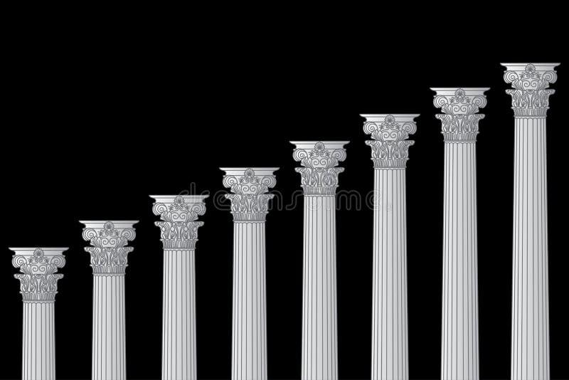 Uma série das colunatas gregas, antigas, históricas com capitais Corinthian e do espaço para o texto em um fundo preto ilustração do vetor