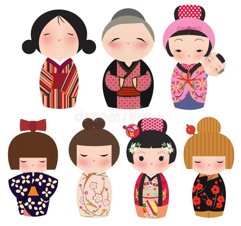 Uma série de caráteres japoneses bonitos do kokeshi. ilustração royalty free