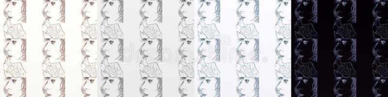 Uma série de cartões, artística com mulheres, vintage, com máscaras diferentes repetidas do motivo ilustração do vetor