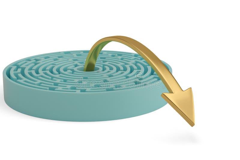 Uma saída da seta do labirinto ilustração 3D ilustração royalty free
